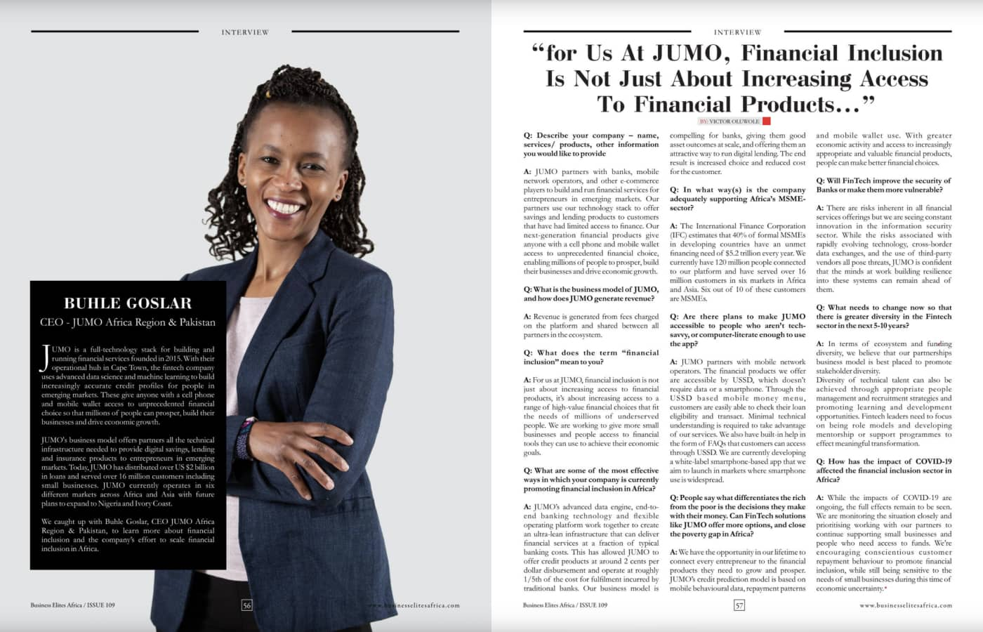 Africa Business Elites interview with Buhle Goslar, JUMO's CEO for the Africa region and Pakistan (Page 56)